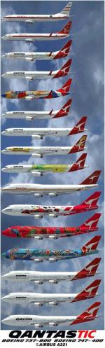 Qantas Tic Collections Textures for the B747, B737-800  and A321