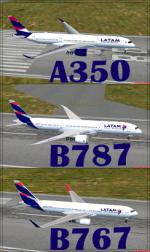 Static LATAM  A350, Boeing 787 and  Boeing 767 scenery design objects