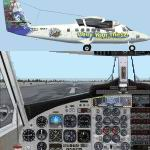 """FS2002                   Project Globe Twotter DHC6-300 In ERA Aviation's """"Thirst For                   Knowledge"""" Color Scheme."""
